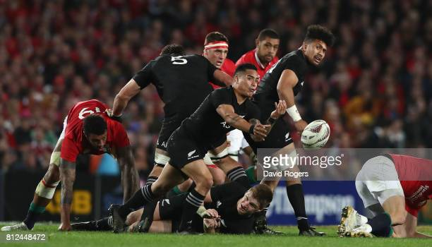 Aaron Smith of the All Blacks passes the ball during the Test match between the New Zealand All Blacks and the British Irish Lions at Eden Park on...