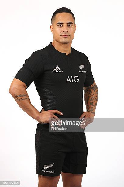 Aaron Smith of the All Blacks poses for a portrait during a New Zealand All Black portrait session on May 29 2016 in Auckland New Zealand