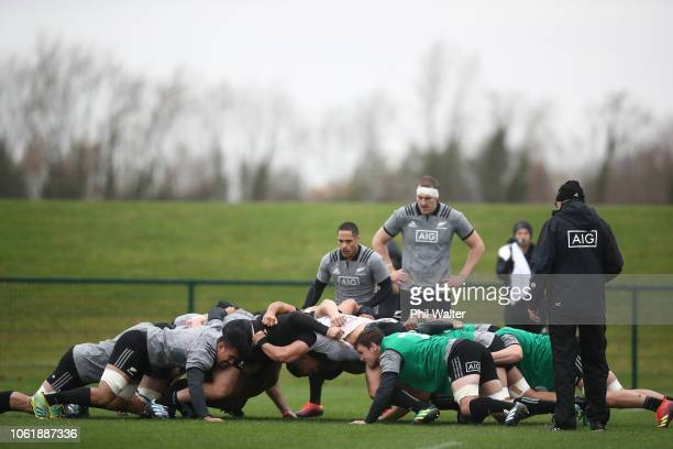 Aaron Smith of the All Blacks puts the ball into the scrum during a New Zealand All Black training session at the Ireland Sport Institute on November...
