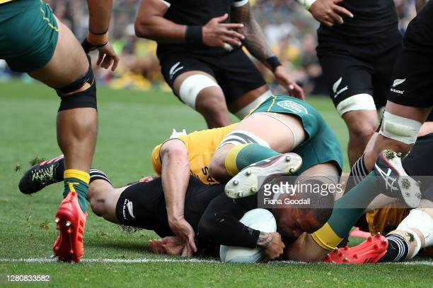 Aaron Smith of the All Blacks scores a try during the Bledisloe Cup match between the New Zealand All Blacks and the Australian Wallabies at Eden...