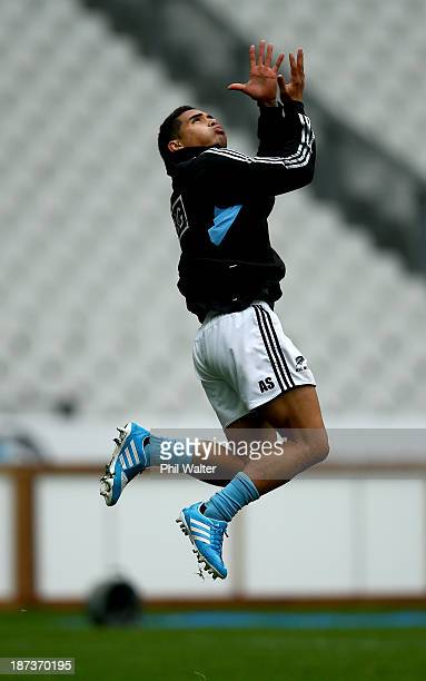 Aaron Smith of the All Blacks takes a catch during the New Zealand All Blacks captains run at Stade de France on November 8 2013 in Paris France