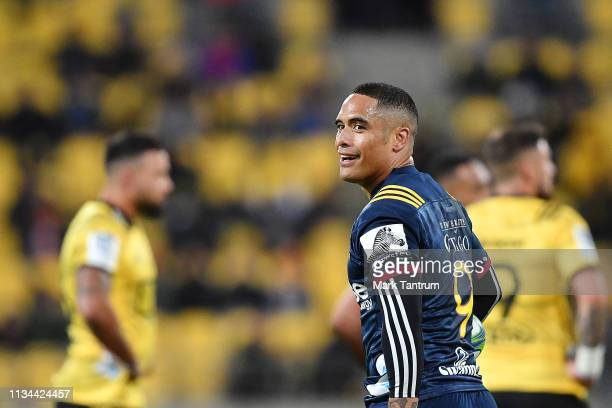 Aaron Smith of the Highlanders during the round 4 Super Rugby match between the Wellington Hurricanes and Otago Highlanders at Westpac Stadium on...