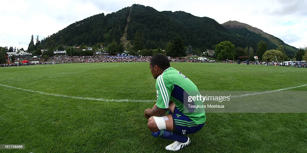 Aaron Smith of the Highlanders looks on during the Super Rugby trial match between the Highlanders and the Blues at the Queenstown Recreation Ground on February 15, 2013 in Queenstown, New Zealand.