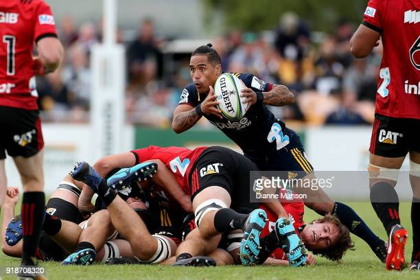 Aaron Smith of the Highlanders looks to get the ball away during the Super Rugby trial match between the Highlanders and the Crusaders at Fred Booth...