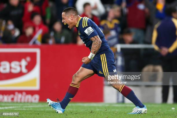 Aaron Smith of the Highlanders reacts after the round 15 Super Rugby match between the Highlanders and the Crusaders at Forsyth Barr Stadium on May...