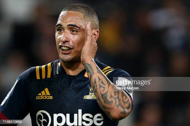 Aaron Smith of the Highlanders reacts during the round 13 Super Rugby match between the Highlanders and the Jaguares at Forsyth Barr Stadium on May...