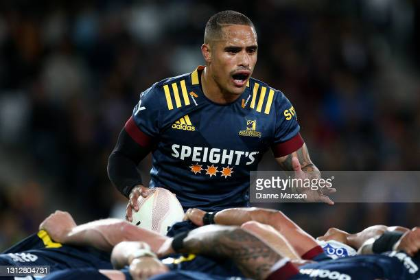 Aaron Smith of the Highlanders reacts during the round eight Super Rugby Aotearoa match between the Highlanders and the Blues at Forsyth Barr...