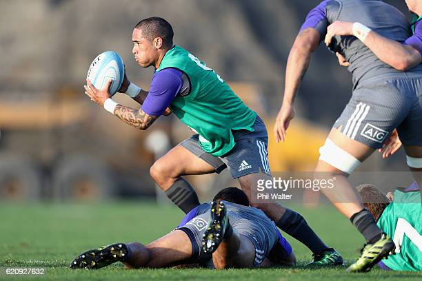 Aaron Smith of the New Zealand All Blacks passes during a training session at Toyota Park on November 3 2016 in Chicago Illinois