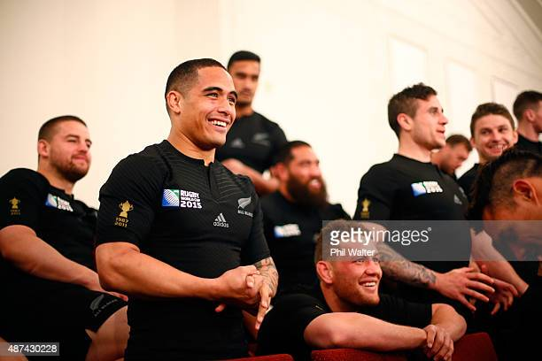 Aaron Smith of the New Zealand All Blacks Rugby World Cup team waits for the official team photo at The Heritage Hotel on September 8 2015 in...