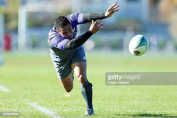 Aaron Smith passes during a New Zealand All Blacks training session at Hutt Recreation Ground on June 14 2016 in Wellington New Zealand