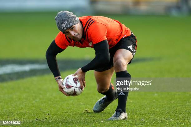 Aaron Smith passes during a New Zealand All Blacks training session at Westpac Stadium on June 29 2017 in Wellington New Zealand