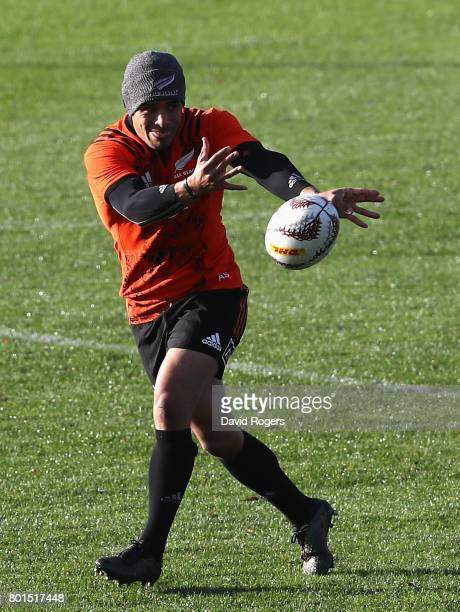 Aaron Smith passes the ball during the New Zealand All Blacks training session at Hutt Recreation Ground on June 27 2017 in Wellington New Zealand