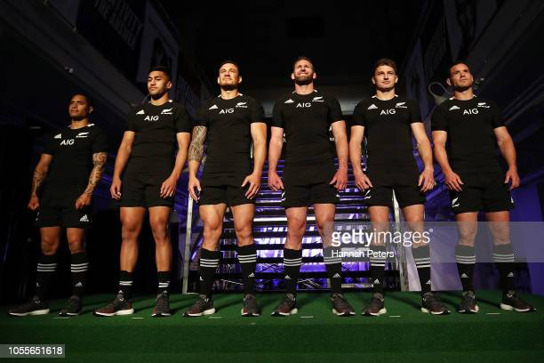 Aaron Smith Rieko Ioane Sonny Bill Williams Kieran Read Beauden Barrett and Ryan Crotty pose during the New Zealand All Blacks Adidas Jersey launch...