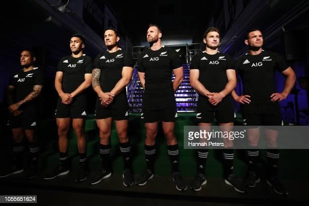Aaron Smith, Rieko Ioane, Sonny Bill Williams, Kieran Read, Beauden Barrett and Ryan Crotty pose during the New Zealand All Blacks Adidas Jersey...