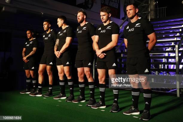 Aaron Smith Rieko Ioane Sonny Bill Williams Kieran Read Beauden Barrett and Ryan Crotty pose during the New Zealand All Blacks Adidas Jersey launch...