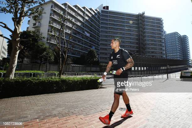 Aaron Smith walks back to the bus after a New Zealand All Blacks gym session on October 22 2018 in Tokyo Japan