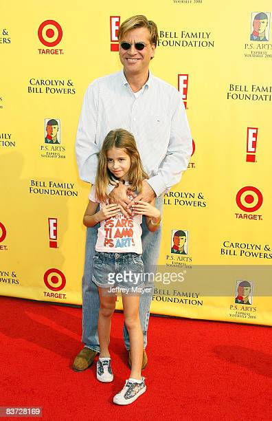 """Aaron Sorkin and daughter Roxy arrive at the 11th Anniversary Of P.S. Arts """"Express Yourself 2008"""" at the Barker Hanger at the Santa Monica Airport..."""