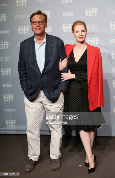 Aaron Sorkin and Jessica Chastain attend the 'Molly's Game' photo call during the 2017 Toronto International Film Festival at Tiff Bell Lightbox on...
