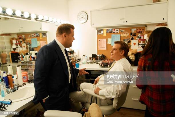 Aaron Sorkin chats in the green room with James Corden during 'The Late Late Show with James Corden' Wednesday January 10 2018 On The CBS Television...