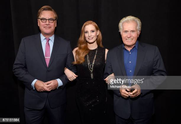 Aaron Sorkin Jessica Chastain and Martin Sheen attend the screening of 'Molly's Game' at the Closing Night Gala at AFI FEST 2017 Presented By Audi on...