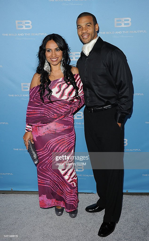 Aaron Spears and wife Estella Lopez attend the 5th Silver Anniversary party for CBS' 'The Bold And The Beautifu on March 10, 2012 in Los Angeles, California.