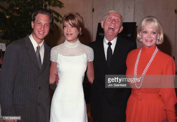 Aaron Spelling and family pose for a portrait in Los Angeles California in 1997