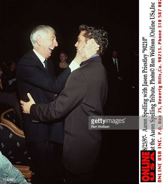 8/97/ Aaron Spelling with Jason Piestley '90210' at the Aaron Spelling Tribute