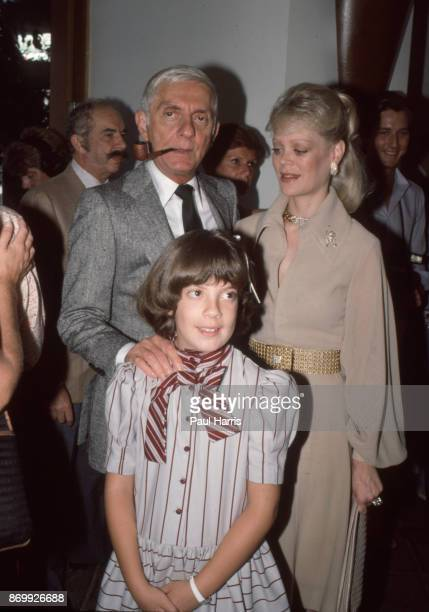 Aaron Spelling with wife Candy Spelling and daughter Tori Spelling at a Beverly Hills Los Angeles California hotel April 21 1984