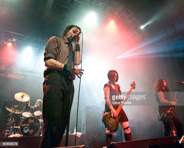Aaron Stainthorpe of My Dying Bride performs on stage on the second day of live music at Hellfire Festival at NEC Arena on November 8 2009 in...