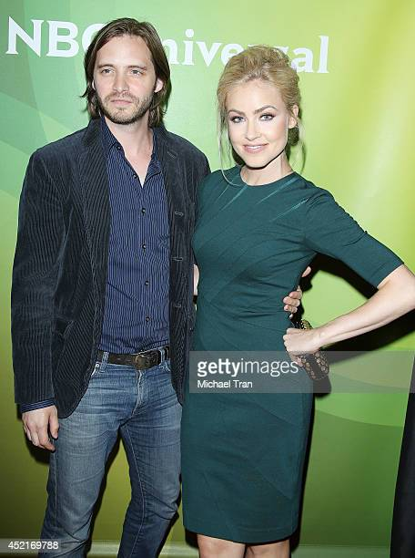 Aaron Stanford and Amanda Schull arrive at the 2014 Television Critics Association Summer Press Tour NBCUniversal Day 2 held at The Beverly Hilton...
