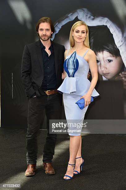 Aaron Stanford and Amanda Schull attend a photocall for the '12 Monkeys' TV series on June 15 2015 in MonteCarlo Monaco
