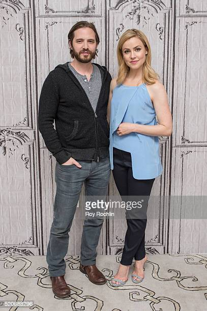 Aaron Stanford and Amanda Schull discuss 12 Monkeys with AOL Build at AOL Studios In New York on April 12 2016 in New York City