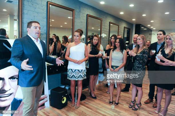Aaron Steed addresses the crowd at A Night Out a fundraising event benefiting #MoveToEndDV hosted by Beverly Hills plastic surgeon Dr Marc Mani at...