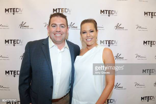 Aaron Steed and Erin Steed attend A Night Out a fundraising event benefiting #MoveToEndDV hosted by Beverly Hills plastic surgeon Dr Marc Mani at...