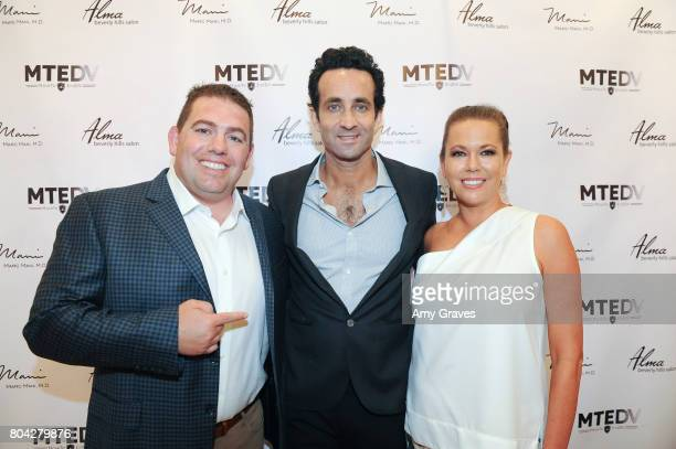 Aaron Steed Dr Marc Mani and Erin Steed attend A Night Out a fundraising event benefiting #MoveToEndDV hosted by Beverly Hills plastic surgeon Dr...