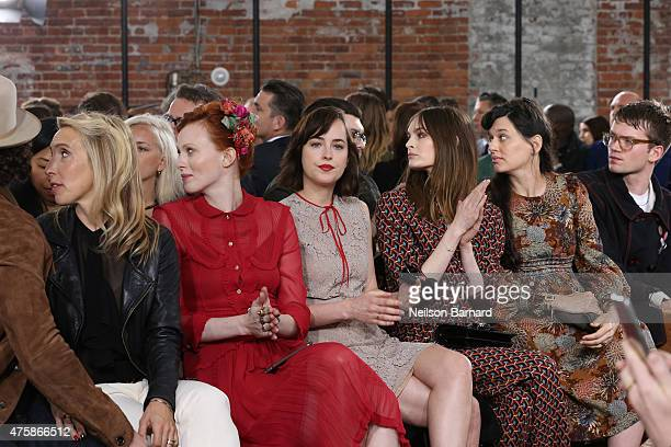 Aaron Taylor Johnson Sam Taylor Johnson Karen Elson Dakota Johnson and Laura Love attend Gucci Cruise 2016 at Dia Art Foundation on June 4 2015 in...