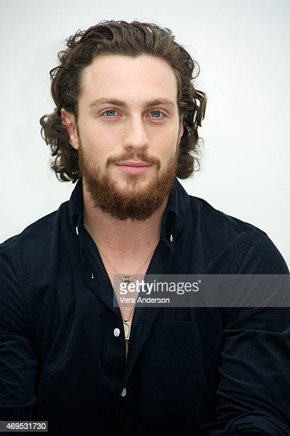 Aaron TaylorJohnson at the 'Avengers Age of Ultron' Press Conference at Walt Disney Studios on April 11 2015 in Burbank California
