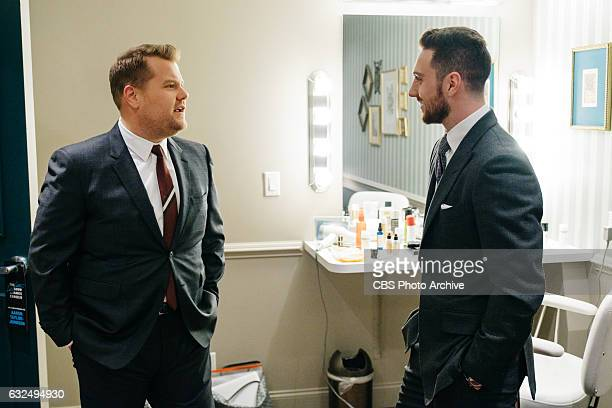 Aaron TaylorJohnson chats in the green room with James Corden during 'The Late Late Show with James Corden' Tuesday January 17 2017 On The CBS...