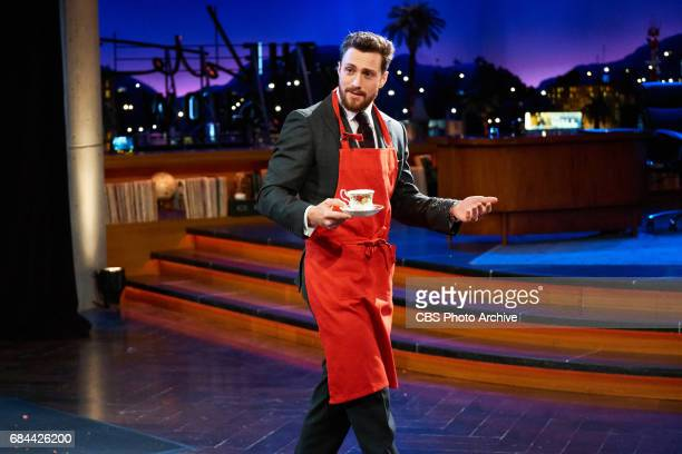 Aaron TaylorJohnson plays in the game Flinch with James Corden during 'The Late Late Show with James Corden' Monday May 15 2017 On The CBS Television...