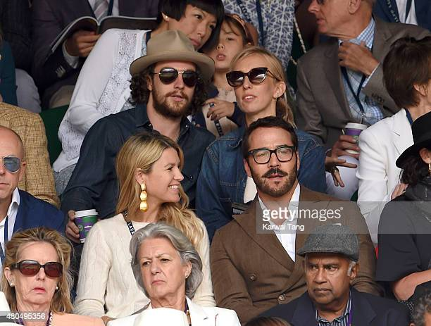 Aaron Taylor-Johnson, Sam Taylor-Johnson and Jeremy Piven attend day 13 of the Wimbledon Tennis Championships at Wimbledon on July 12, 2015 in...