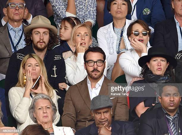 Aaron Taylor-Johnson, Sam Taylor-Johnson, Kristin Scott Thomas and Jeremy Piven attend day 13 of the Wimbledon Tennis Championships at Wimbledon on...
