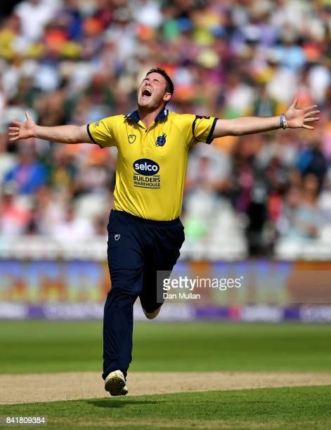 Aaron Thomason of Birmingham celebrates after dismissing David Miller of Glamorgan during the NatWest T20 Blast Semi-Final match between Birmingham...