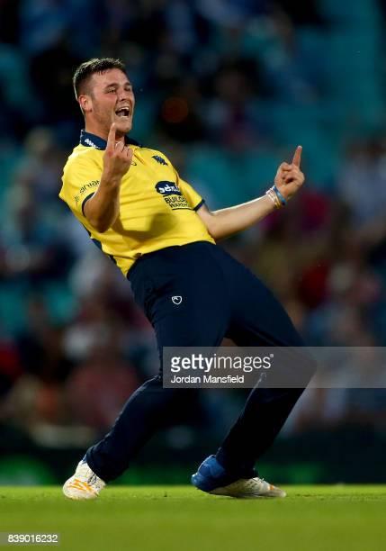 Aaron Thomason of Birmingham celebrates dismissing Rikki Clarke of Surrey during the NatWest T20 Blast QuarterFinal between Surrey and Birmingham...