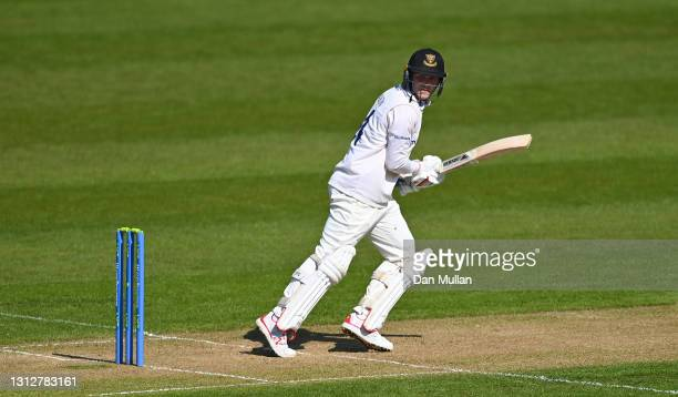 Aaron Thomason of Sussex bats during day two of the LV= Insurance County Championship match between Glamorgan and Sussex at Sophia Gardens on April...