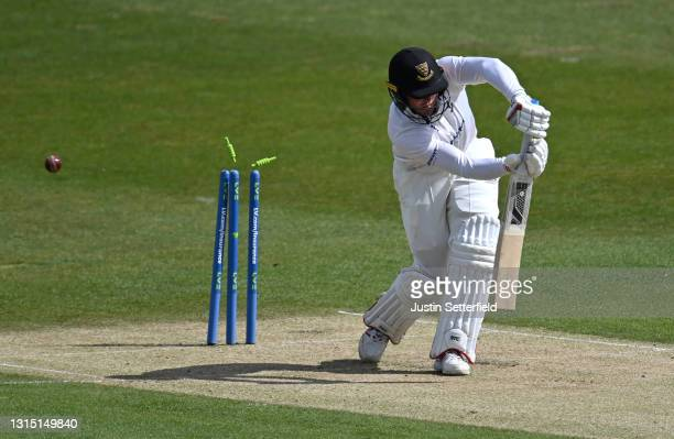 Aaron Thomason of Sussex is bowled by Tom Bailey of Lancashire during the LV= Insurance County Championship match between Sussex and Lancashire at...