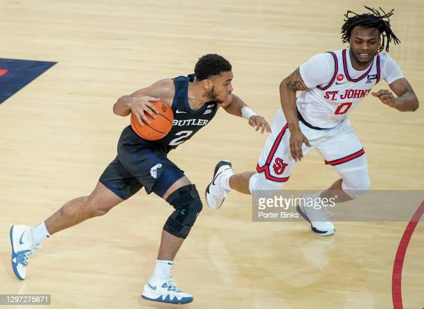 Aaron Thompson of the Butler Bulldogs dribbles the ball against the St. John's Red Storm at Carnesecca Arena on January 12, 2021 in the Queens...