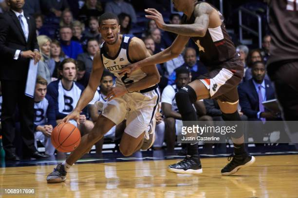 Aaron Thompson of the Butler Bulldogs drives to the basket in the game against the Brown Bears in the second half at Hinkle Fieldhouse on December 5...