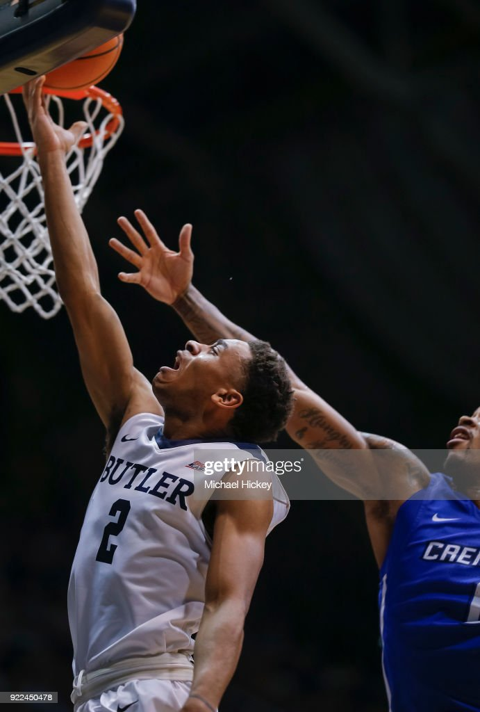 Aaron Thompson #2 of the Butler Bulldogs shoots the ball against the Creighton Bluejays at Hinkle Fieldhouse on February 20, 2018 in Indianapolis, Indiana.