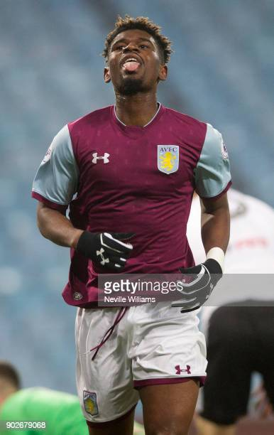 Aaron Tshibola of Aston Villa celebrates after scoring during the Premier League 2 match between Aston Villa and Fulham at Villa Park on January 08...