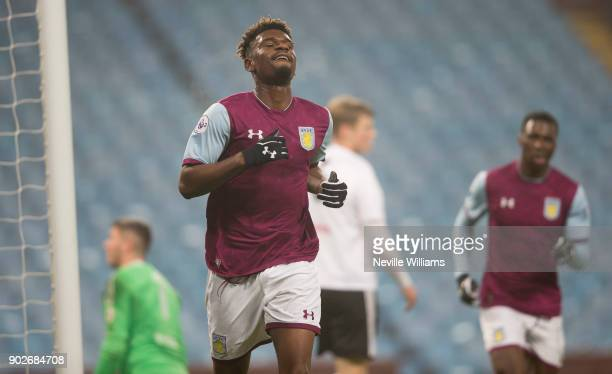 Aaron Tshibola of Aston Villa celebrates scoring during the Premier League 2 match between Aston Villa and Fulham at Villa Park on January 08 2018 in...